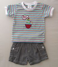 6m 12m 18m 24m Baby Boys T-Shirt Shorts Summer Outfit Clothes Parrot Ship White