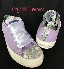 Ladies Bling Customised Floral Lilac Converse Size 3 4 5 6 7 8