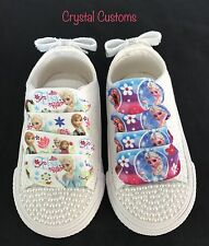 Infants Bling Customised Pearl Frozen White Converse Size 2 3 4 5 6 7 8 9 10