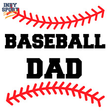 Baseball Dad Text with Baseball Softball Stripe - Vinyl Sports Car Decal Sticker