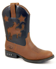 Roper Baby Boys Infant Western Lighted Tan Faux Leather Blue Cowboy Boots