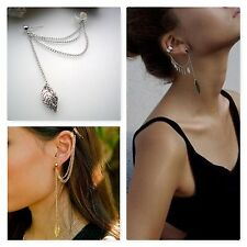 LEAF CHAIN WOMEN FASHION PUNK TASSEL DANGLE EAR CLIP CUFF WRAP EARRING EARRINGS