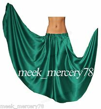 Women Satin Full Circle Skirt For Belly Dance Costume Tribal Gypsy Skirt S~3XL