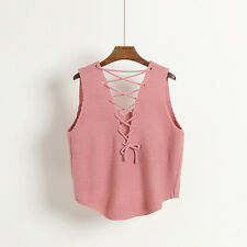 Ladies V Neck Knit Vest Sleeveless Lace Up Loose Waistcoat Sweater Chic Top Cute