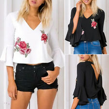 Elegant Womens Chiffon Floral Embroidery V Neck Flare Sleeve Blouse Crop Tops