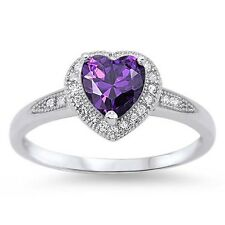 Stunning 925 Sterling Silver Amethyst CZ Heart Ring Clear CZ Size 4-10