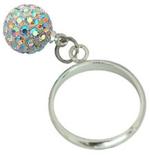 Silver Jewellery Ring with Shamballa Ball CZ Crystal - FREE Velvet Bag