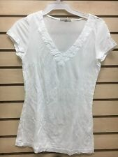 James Perse wtjj3135 womens sz 2 color white 100% tencel v-neck shirt new