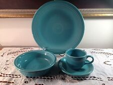 Fiesta Homer Laughlin Turquoise 4 pc place setting Contemporary Made in USA