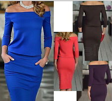 UK Womens Bodycon Off Shoulder Dress Ladies Party Evening Pencil Dress Size 6-16