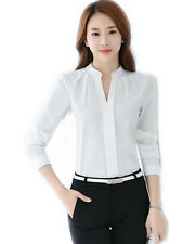Fashion Women's Casual Long Sleeves V-neck Shirts Lady Chiffon Tops Blouse Tops