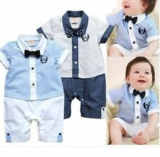 Baby Boy Wedding Christening Tuxedo Formal White Suit Outfit Clothes Romper3-18M