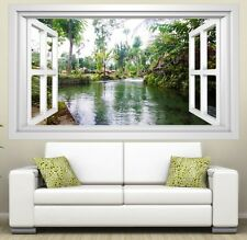 3D Mural tattoo Lake Holiday Forest Window Image photo Mural Wall Sticker 11E338