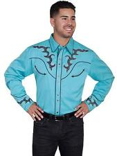 Scully Western Mens Shirt Long Sleeve Embroidered Snap P-752