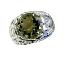 Green Amethyst Silver goodly exporter Ring Green L-1in UK K,M,O,Q