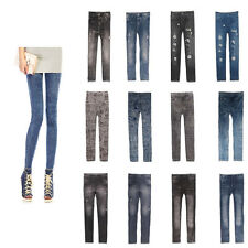 Women's Ladies Girl Casual Tights Stretch Skinny Pants Jeans Legging Trousers