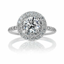 Engagement Ring Size 6.25 Certified Diamond 1.66CT F VS2 14K White Gold Enhanced