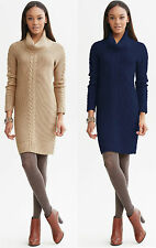 Brand NEW Banana Republic Women's  Cable-knit Cowl Sweater Dress Clr Tan Size XL