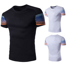 New Fashion Men Slim Fit Cotton Short Sleeve Casual Basic Tee T-Shirt Tops hot .