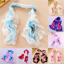 New Flowers Girl Women Long Soft Wrap Lady Shawl Silk Chiffon Scarf Scarves W058