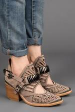 Jeffrey Campbell Calhoun-2M Taupe Suede Pewter Metal Pointed Toe Ankle Boot 10
