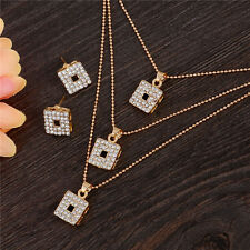 New Jewelry Sets For Women Crystal Rhinestone Earrings Multilayer Necklace