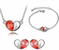 Women White Gold Plated Heart Shape Pendant Necklace/Earrings/Bracelet Set