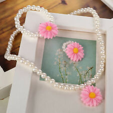 New Fashion Simulated-Pearl Beads Resin Flower Pendant Necklace Jewelry Set