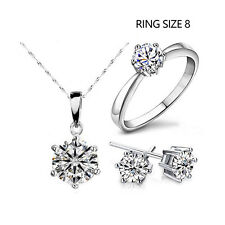 Silver Fashion Jewelry Sets Cubic Zircon Crystal Necklace & Earrings & Rings