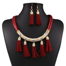 Fashion African Jewelry Sets For Weddings Leather Necklace and Earring Set