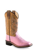 Old West Pink Youth Girls Corona Calf Stitch Cowboy Western Boots