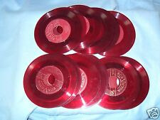 "Vintage lot of 25 RED VINYL 45 RPM RECORDS CRAFTS STEAMPUNK 7"" COLORED"