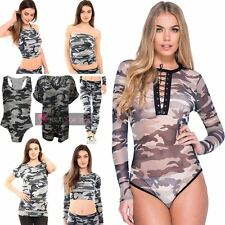 NEW LEGGINGS TOP BODYSUIT EYE LOT LACE UP CROPPED RACER CAMOUFLAGE MIX UK 6-26