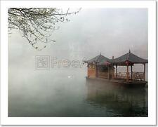 China Landscape Of Boat On Foggy River Art Print Home Decor Wall Art