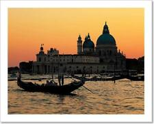 Venice, Italy. Gondola On Grand Canal At Sunset Art Print Home Decor Wall Art