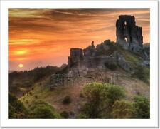 Castle Ruins Landscape With Bright Vibrant Sunrise Art Print Home Decor Wall Art