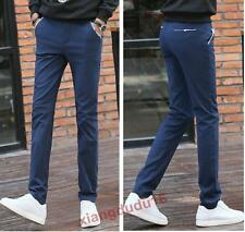 Mens Fashion Cotton Blend Skinny Slim fit Straight Casual Trousers Pants #