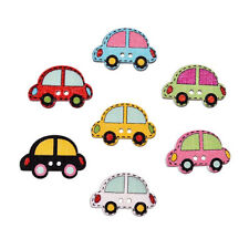 Hot 10/50pcs Mixed 2Holes Wood Colorful Car Shape Sewing Cloth Craft  Buttons