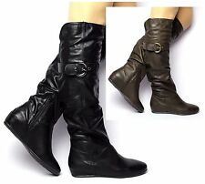 WOMENS LADIES BLACK BROWN WEDGE MID HEEL KNEE HIGH BUCKLE ZIP BOOTS SHOES SIZE