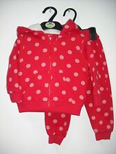 BNWOT Marks and Spencers Red Spotty Jogging Set/Suit. Girls. Age3-5 Years