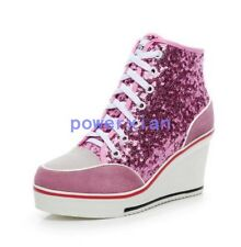 Womens Fashion Sneaker Sequin Wedge heel Lace Up Ankle Boots High Top Shoes Plus