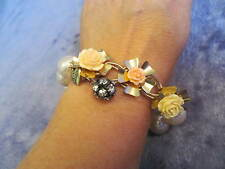 Betsey Johnson RARE Vtg CARVED ROSES Stretch Bracelet PEARLS Fabulous Flowers