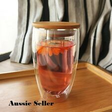 Set of 2 3 Sizes Double Wall Glass Tumbler Drinking Glasses with bamboo lid