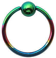 Titanium Steel Ball Closure Ring (BCR) Rainbow Colored Piercing 1.2mm / 16G