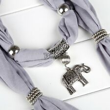 Alloy Elephant Pendant Scarf Charm Ring Jewelry Necklace Scarves WT8802