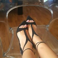ZARA Black Leather Strappy High Heel Sandals New Sold out Bloggers US 6.5 9 37