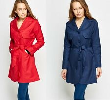New Ladies Women's Breasted Belted Trench Mac Coat Jacket Size UK 8 10 12 14 16