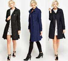 LADIES BLACK BLUE NAVY BELTED DOUBLE BREASTED TRENCH MAC JACKET COAT UK 8-18