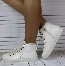 Ladies White Patent Hi Top Trainers Sneakers Ankle Boots Shoes Size