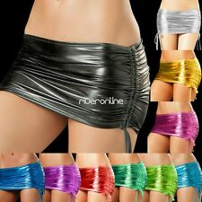 Sexy Lingerie Women Clubwear PVC Faux Leather Shiny Metallic Mini Skirt Dress Up